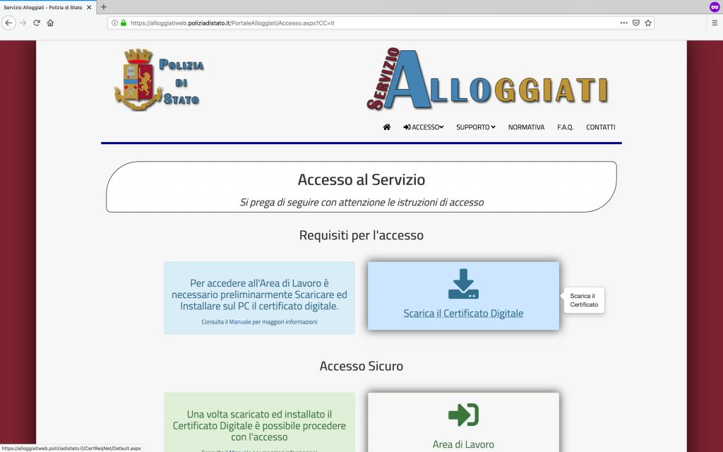 pagina iniziale portale alloggiati web