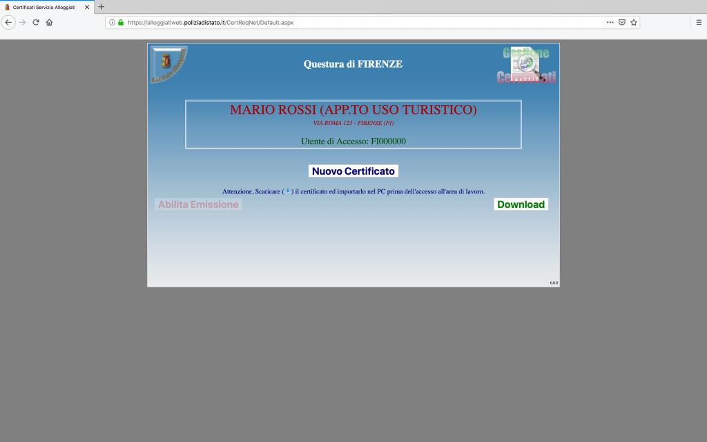 schermata di generazione certificato digitale alloggiati web